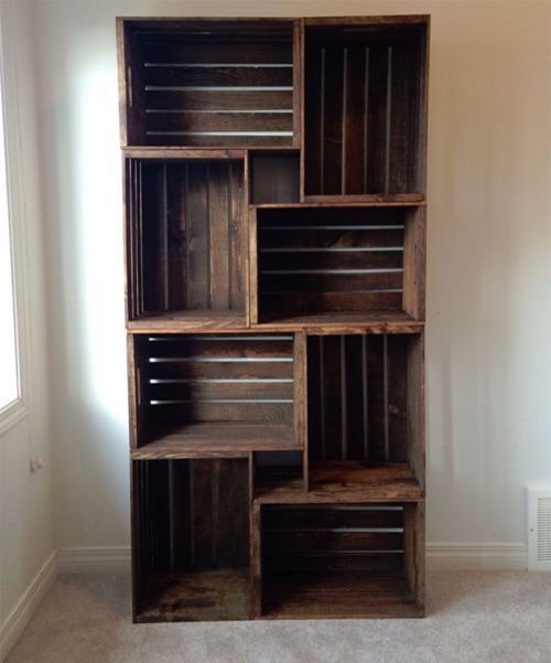 Great Idea for Rustic Homemade Nice and Cheap bookshelves