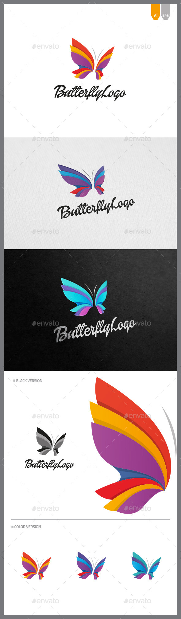 Logotype butterfly and letter b in different colour variants on a - Butterfly Logo Objects Logo Templates