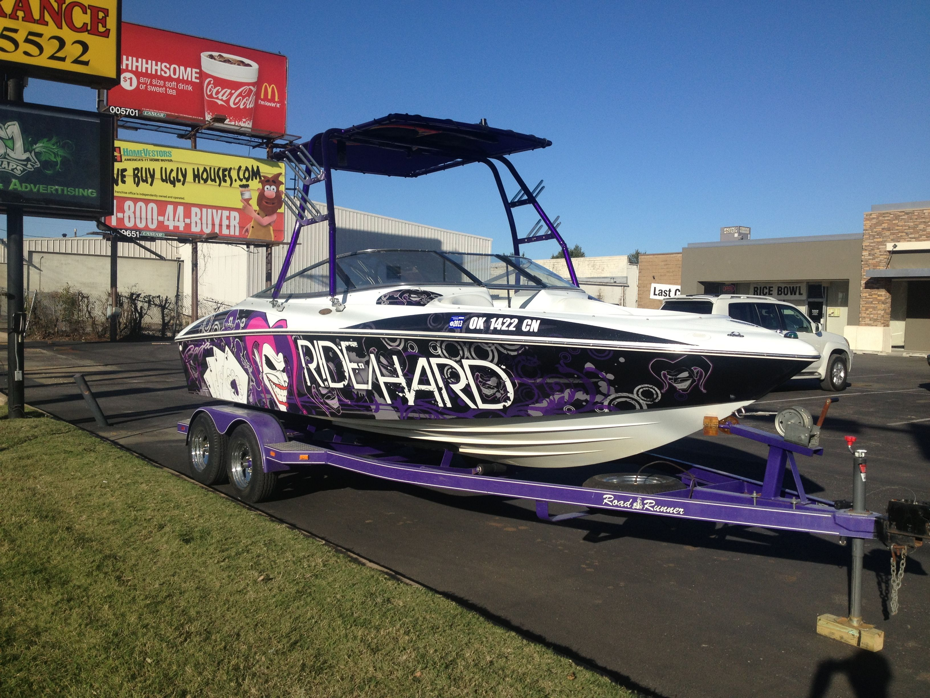 custom design ride hard joker wakeboard boat wrap