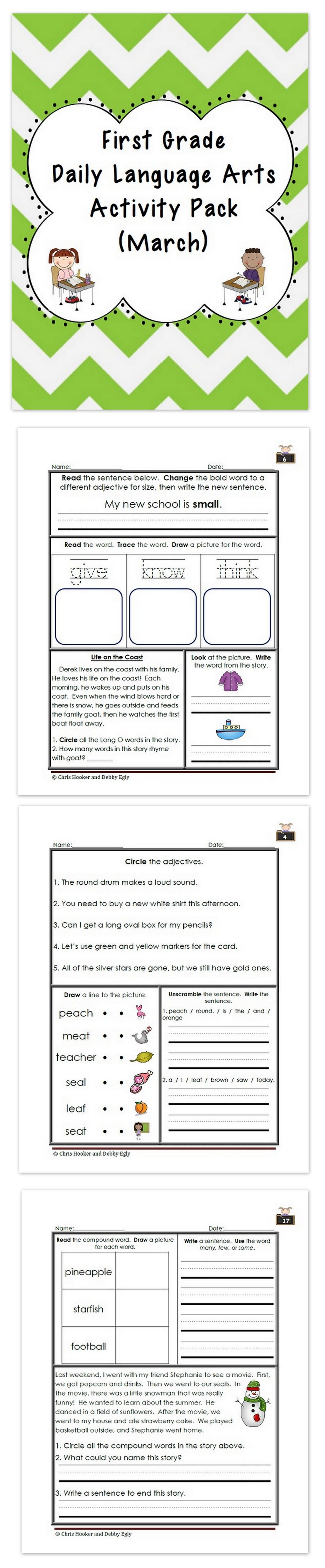 worksheet Daily Language Worksheets 1st grade language arts worksheet pack march common core aligned aligned
