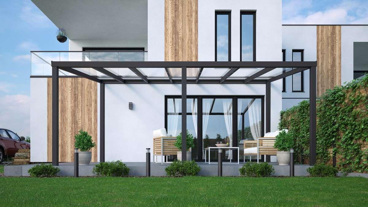 Alu Terrassenüberdachung freistehend in anthrazit 3x4m mit