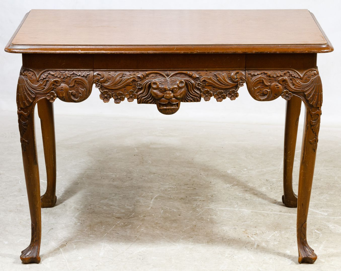 Victorian carved rosewood center table w marble turtle top cottone - Lot 69 Victorian Walnut Library Table Having A Highly Carved Apron With Lion Head