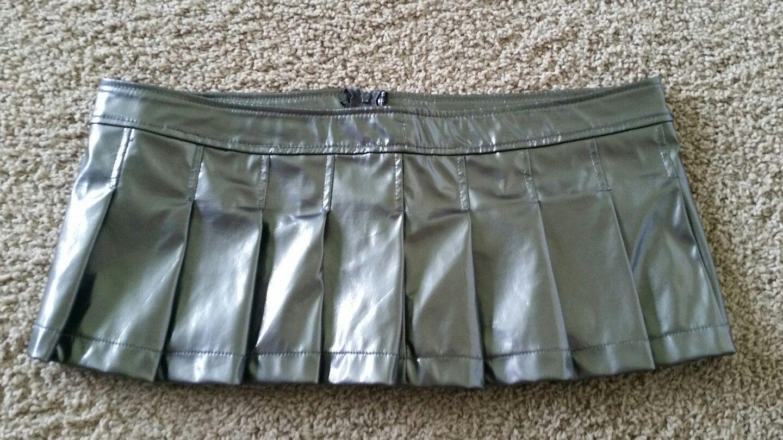 "LIP SERVICE Patent Vinyl And Vegi Leather Classics ""Itty Bity"" mini skirt #38-401 - blue or gunmetal size L"