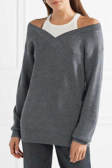 Big Sale Off-the-shoulder Layered Ribbed Merino Wool-blend And Cotton Sweater - Charcoal Alexander Wang Discount Low Shipping Fee Order Clearance Fake Classic tttOQT