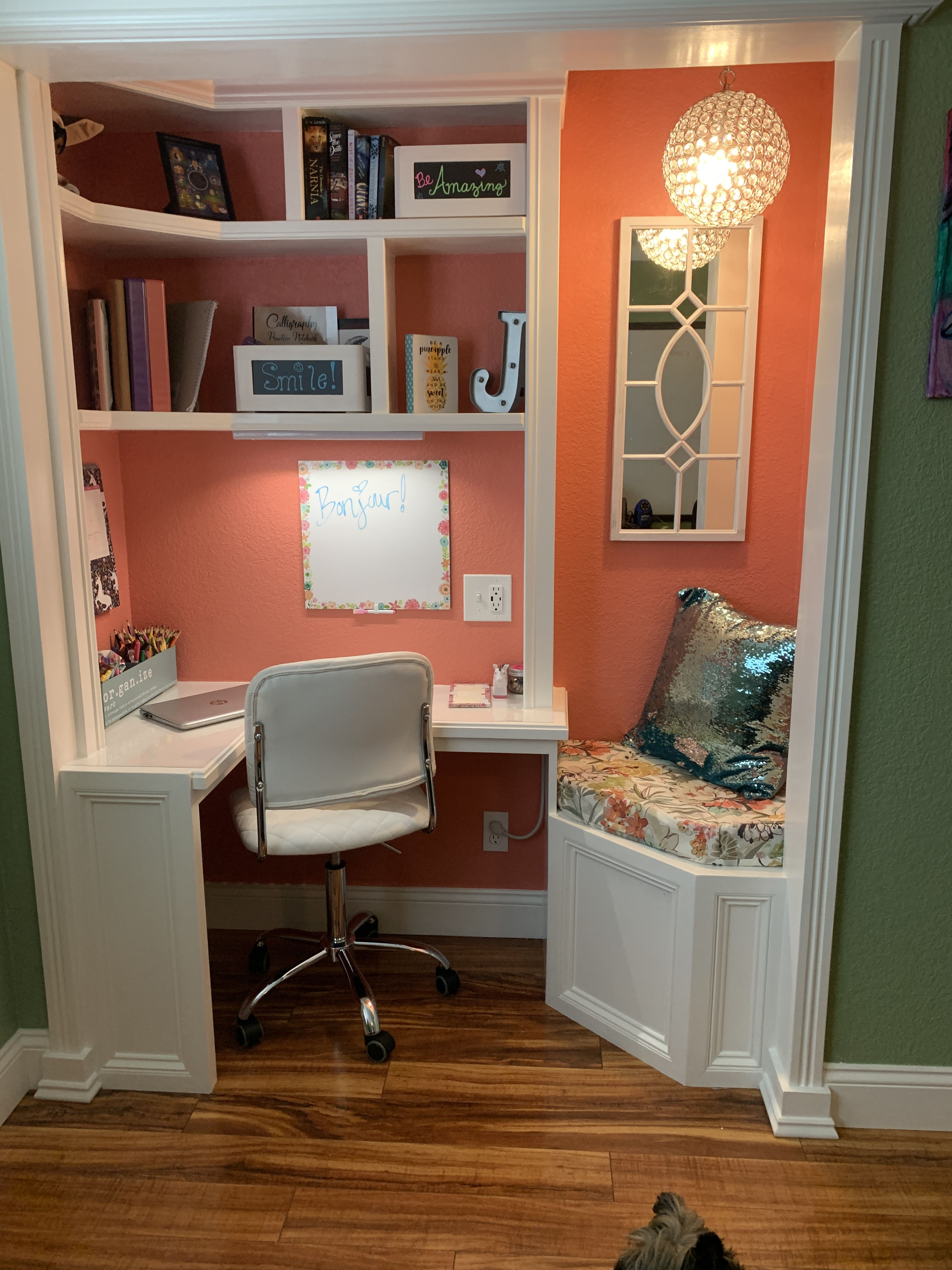 Regular Closet Turned Into An Office Home Office Closet Home Office Design Home
