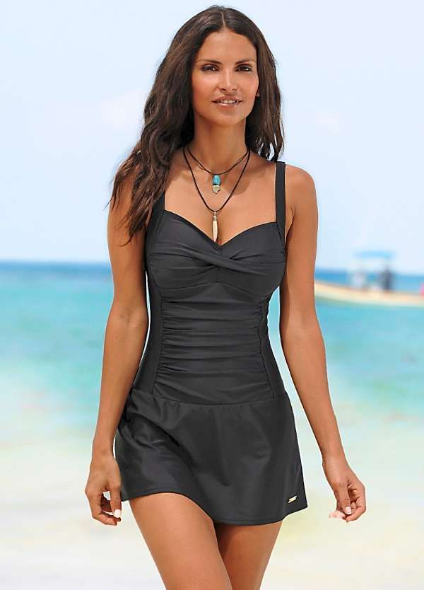40178aed98 Black Shapewear Swimdress by LASCANA. Black Shapewear Swimdress by LASCANA  Modest Swimsuits, Cute Swimsuits, Modest Swim Dress ...