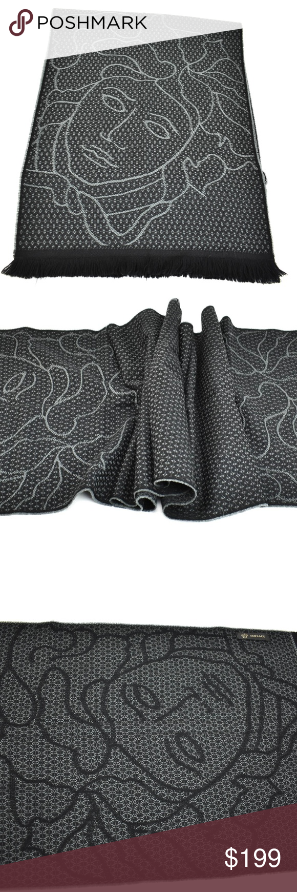 "VERSACE Black & ""Medusa"" Logo, Long Wool Scarf mp Wool"