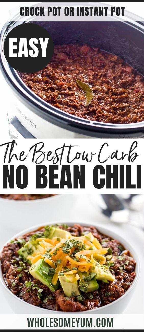 Keto Low Carb Chili Recipe - Crock Pot or Instant Pot (Paleo) #chilirecipe