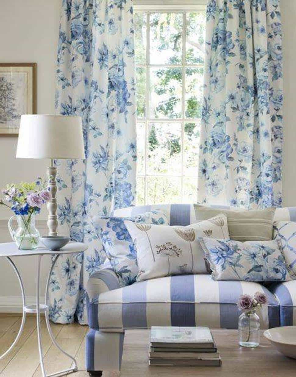 Living Room Beautify Your With French Country Curtains Fl Blue In