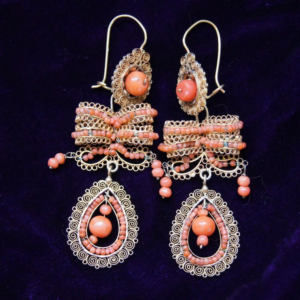 Antique Mexican Oaxacan Wedding Earrings Beading Patterns Modern Silver Jewelry Coral Jewelry