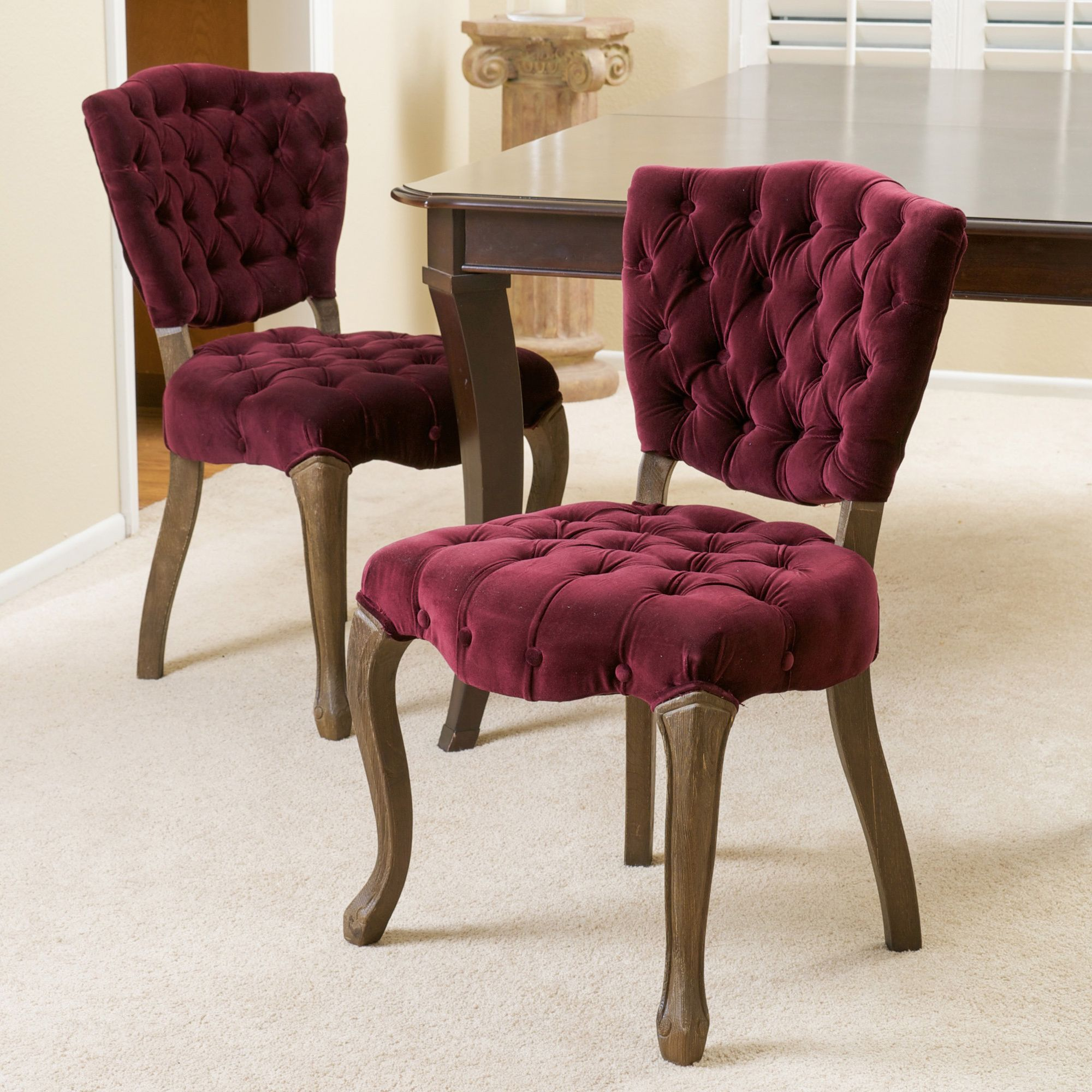 Bates Tufted Dark Purple Fabric Dining Chairs Set Of 2 By Christopher Knight Home
