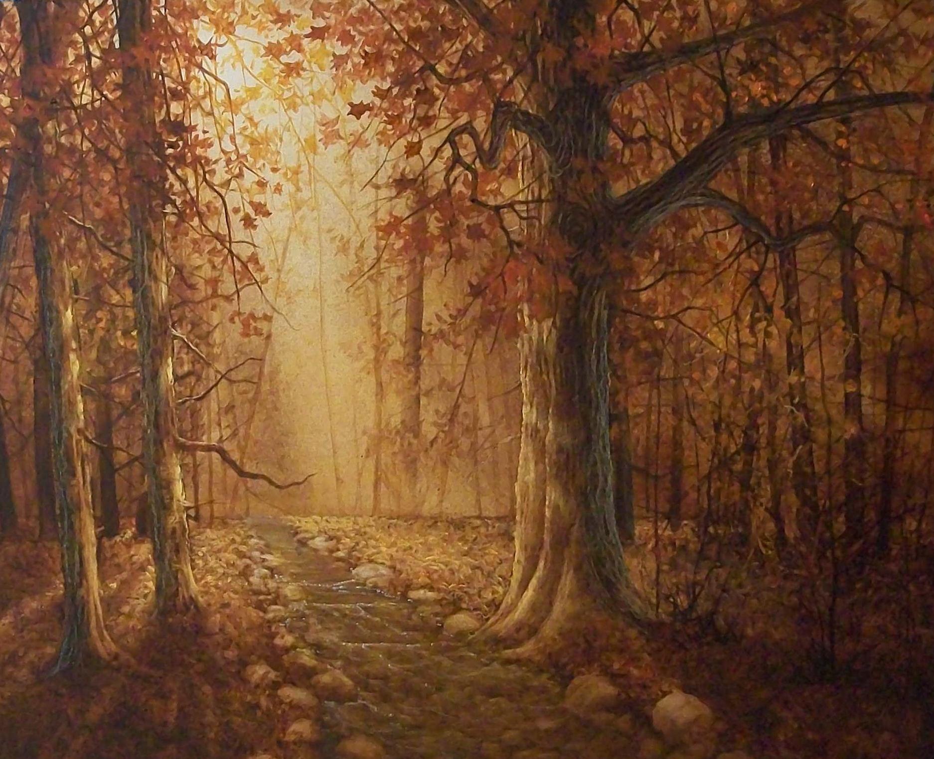 AUTUNNO NEL PARCO. Oil painting by Eddi Renesto.