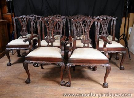 Photo Of Set 10 Mahogany Chippendale Dining Chairs Ball Claw Feet Brilliant Chippendale Dining Room Set 2018