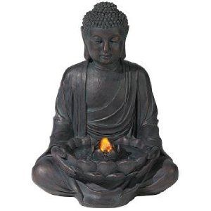 Meditating Aged Bronze Buddha LED Indoor/Outdoor Founta