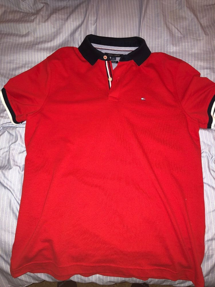 4fbed42b Tommy Hilfiger Classic Fit Polo | Adult Medium Red Blue Collar #fashion # clothing #shoes #accessories #mensclothing #shirts (ebay link)
