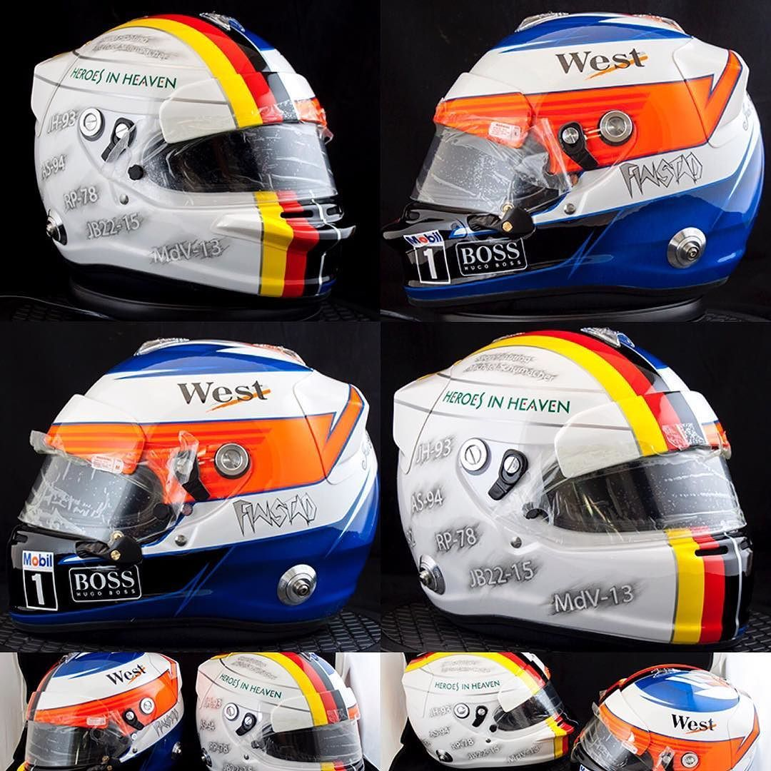 """Heroes In Heaven helmetpaint with Kimi and Vettel designs in a tribute theme to F1 heroes and KeepFightingMichael message.. painted to the """"Finstad"""" racingbrothers thanks for choosing me to be a part of this project... @michelfinstad @kewinfinstad #VettleVsRäikkönen #SebInRed #HeroesInHeaven #360gfx_com #JustForFun #KeepFightingMichael #helmetpaint #araihelmets #glasurit #iwata #anestiwata"""