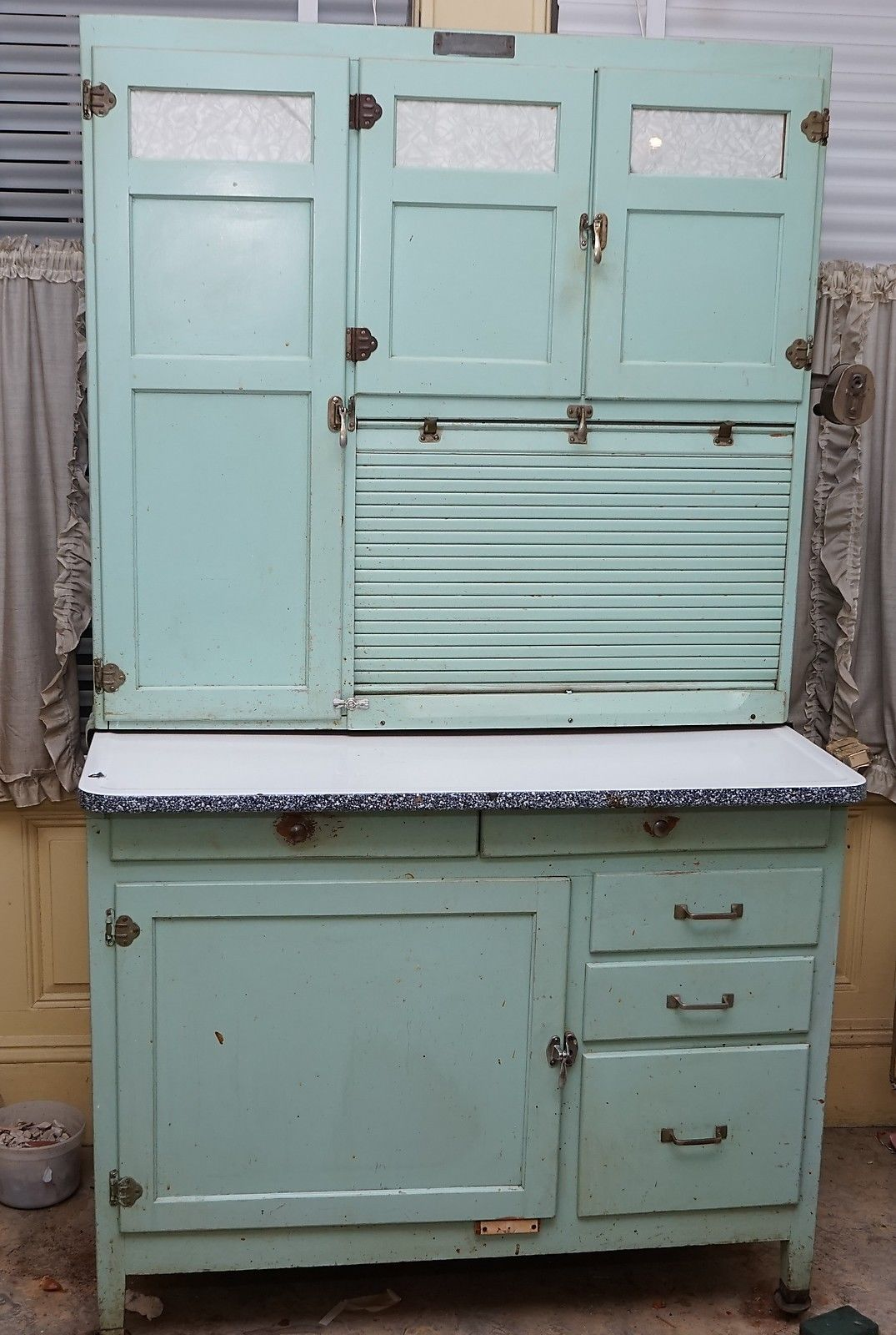 Vintage hoosier kitchen cabinet by mcdougall original paint blue ...