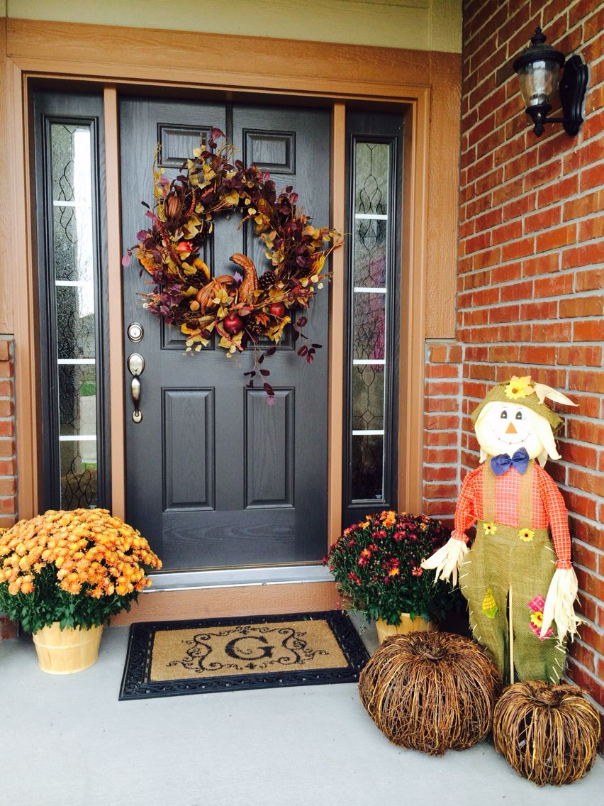 Fall decor 2014 Front Entry Outdoor Decor Outdoor fun - Front Door Halloween Decorations