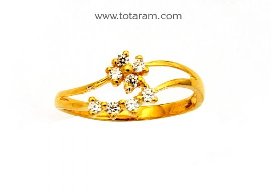 22K Gold Ring for Women with CZ Totaram Jewelers Buy Indian Gold