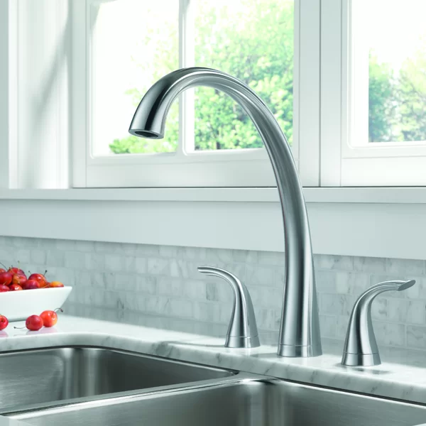 Delta Pilar Double Handle Kitchen Faucet With Spray And Diamond Seal Technology Kitchen Faucet Widespread Kitchen Faucet Kitchen Handles