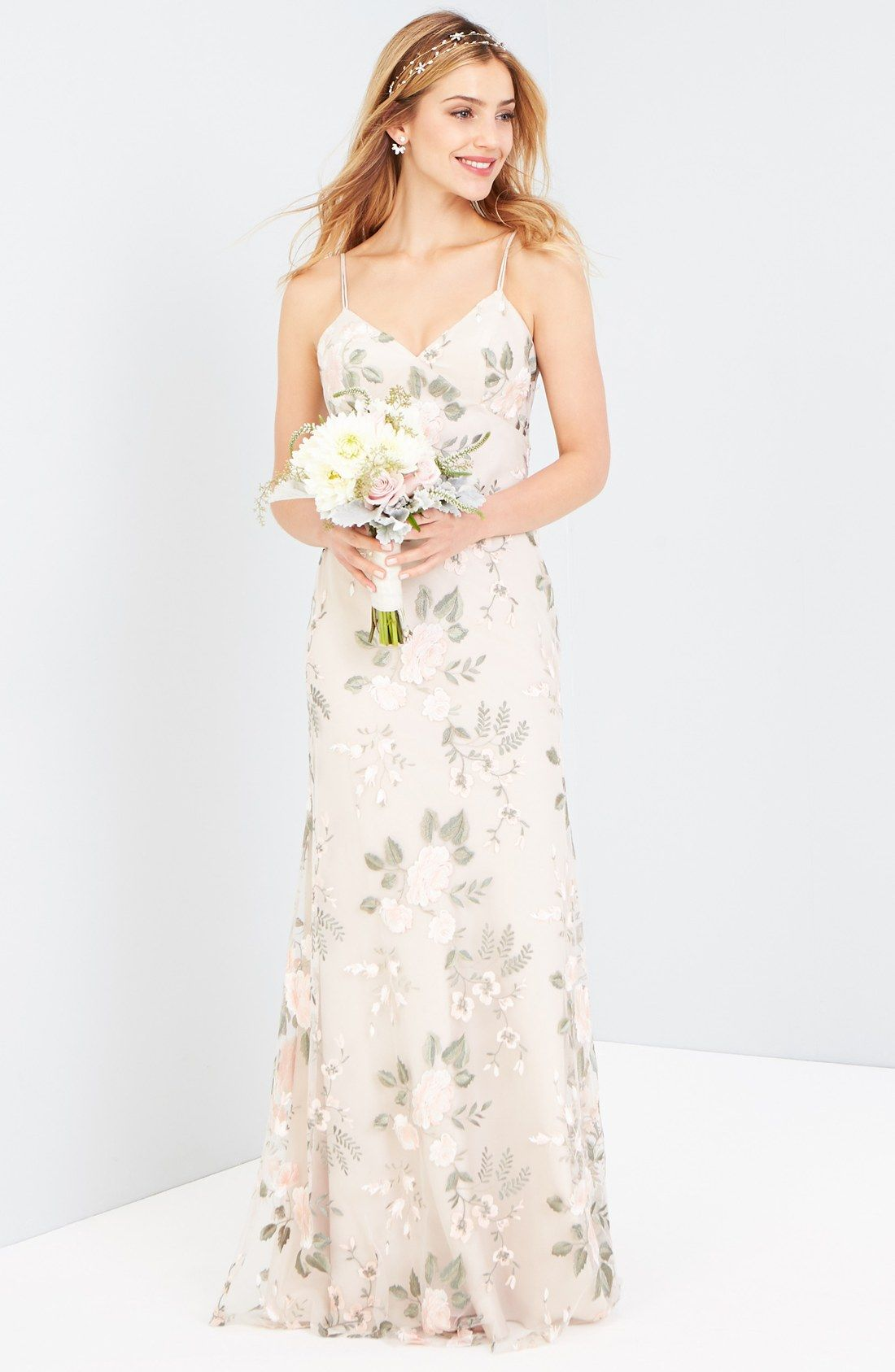 aabc965f364a Julianna Embroidered Gown. Neutral floral bridesmaid dress by Jenny Yoo  (affiliate)