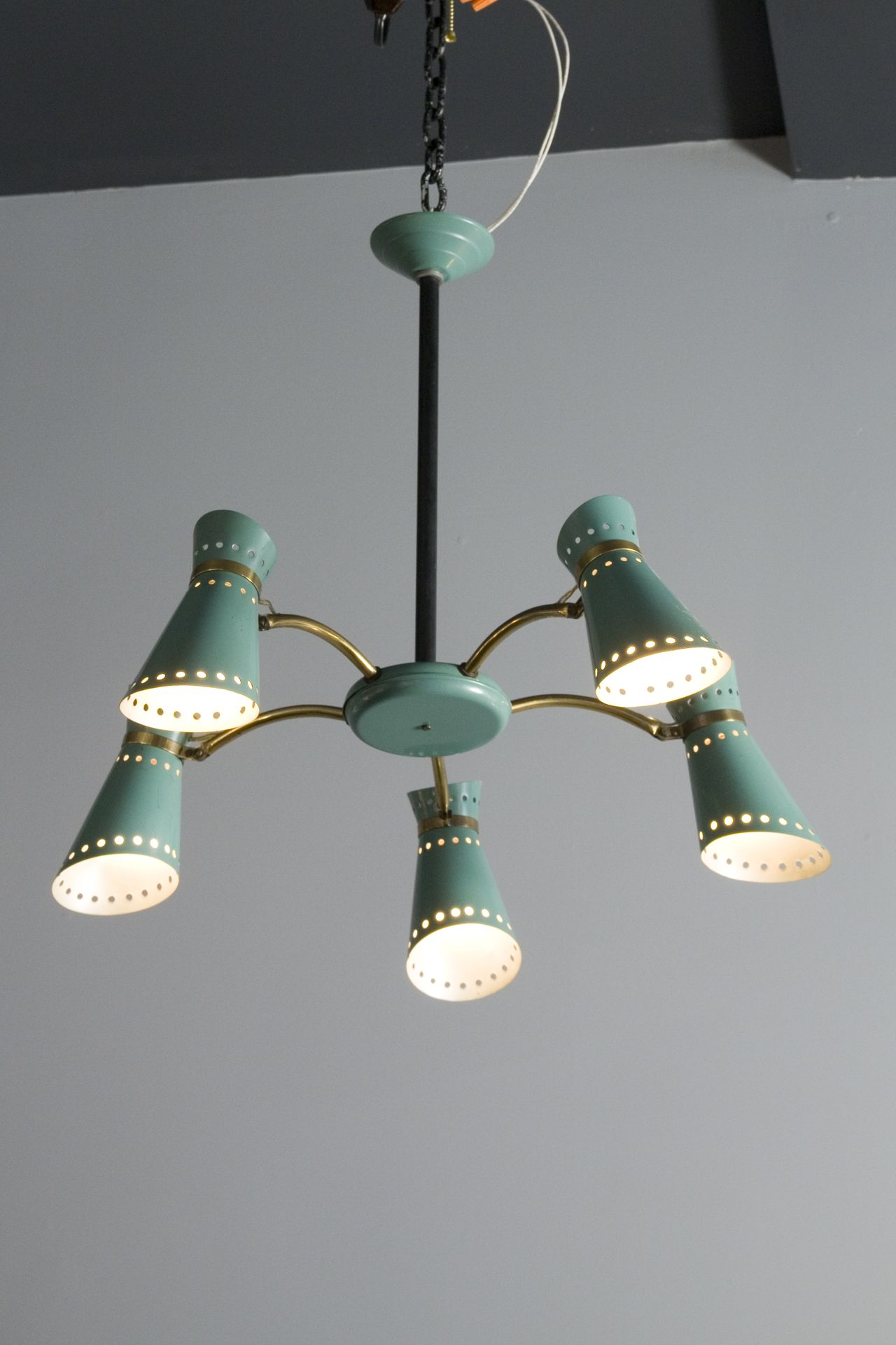 Pierre Guariche attributed, Lacquered Metal chandelier, 1950s ...