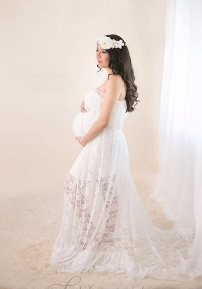 6e1170bbb2a White Lace Bandeau Pleated Boat Neck Off Shoulder Floor Length Maternity  Maxi Dress