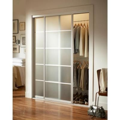 Contractors Wardrobe 72 In X 81 In Silhouette 5 Lite Satin Clear Aluminum Frame Mystique Glass Interior Sliding Door Si5 7281sc2r The Home Depot Modern Closet Doors Modern Closet Sliding Doors Interior