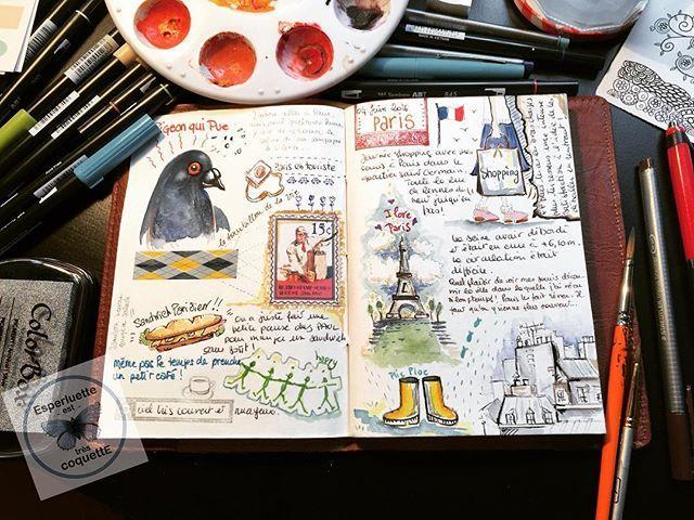 Journal de bord. Une journée à Paris. Ça faisait depuis très longtemps que j'avais envie de m'essayer à cet exercice. C'est très amusant ! > #esperco #espercoquette #travelbook #journaldebord #illustratedjournal #watercolor #tombow #penbrush #brush #paris #france #souvenir #eiffeltower #pigeon #sandwich #journey #travelsketch #notebook #travelersnotebook #decoratedpage