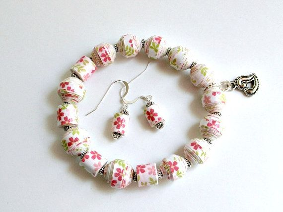 REDUCED - Pink Spring Flower PAPER BEAD Bracelet and Earrings - shipping included