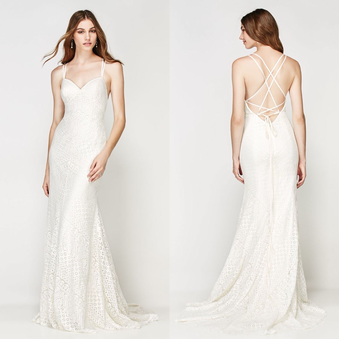 Wedding dresses fresno  Looks casual but lots of delicate detail in this dress Geometric