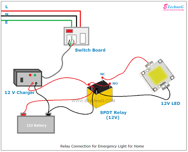 Relay Connection wiring diagram | Relay, Connection, Emergency lighting | Batteries 12v Led Wiring Diagram |  | Pinterest