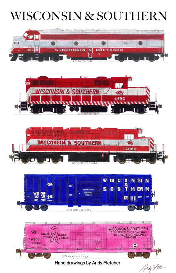 """An 11""""x17"""" poster with some of Andy Fletcher's hand drawings of 5 Wisconsin & Southern locomotives & rolling stock."""