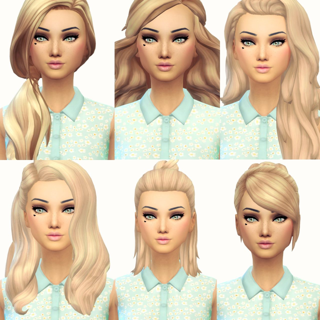 Sims 4 Hairstyles: Current Favourite Maxis Match Hair 3 (From Left To Right