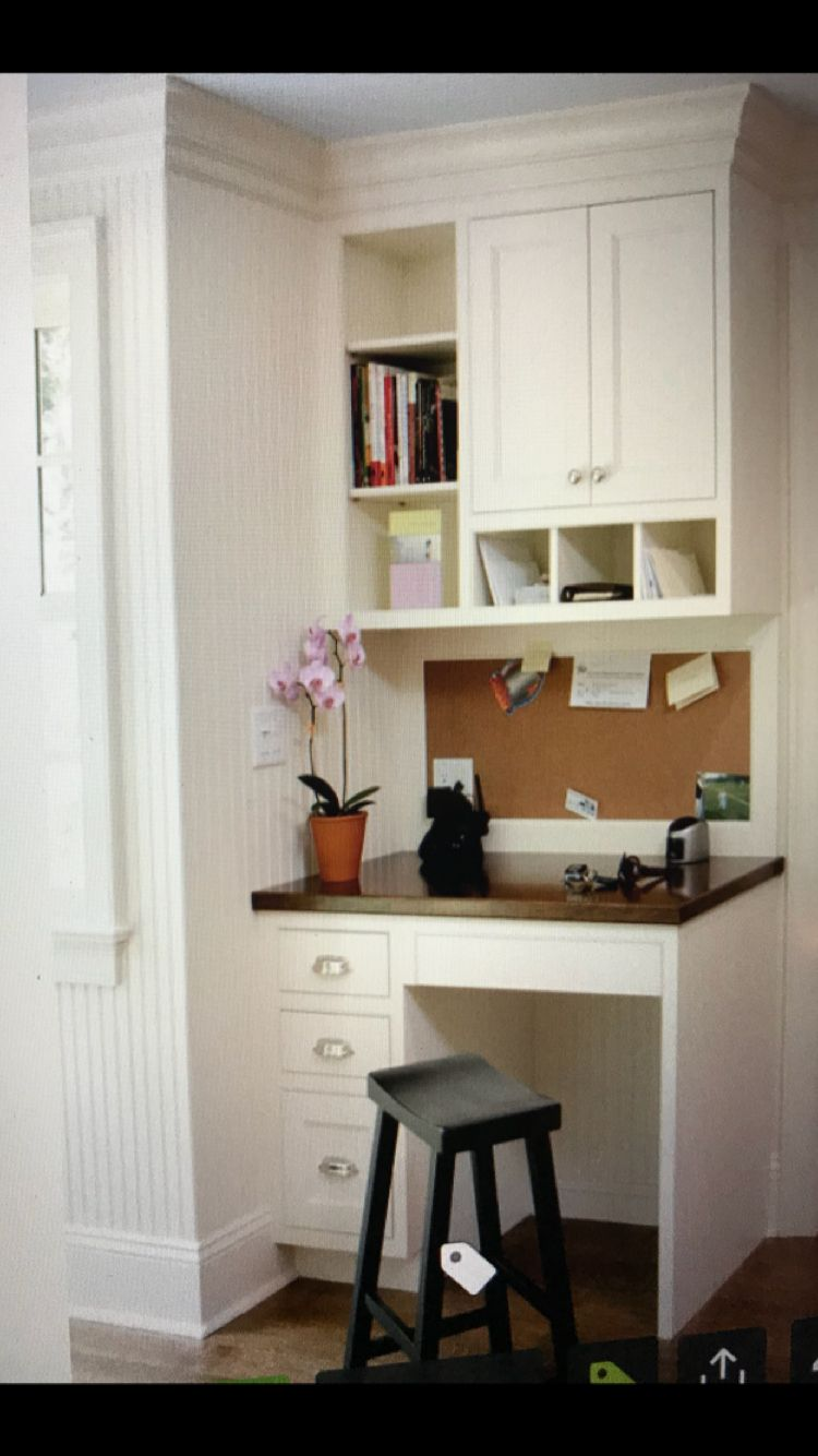 Upper Cabinets For Storage Not Too Deep Big Kitchen Desk Areas Kitchen Office Nook Home Command Center