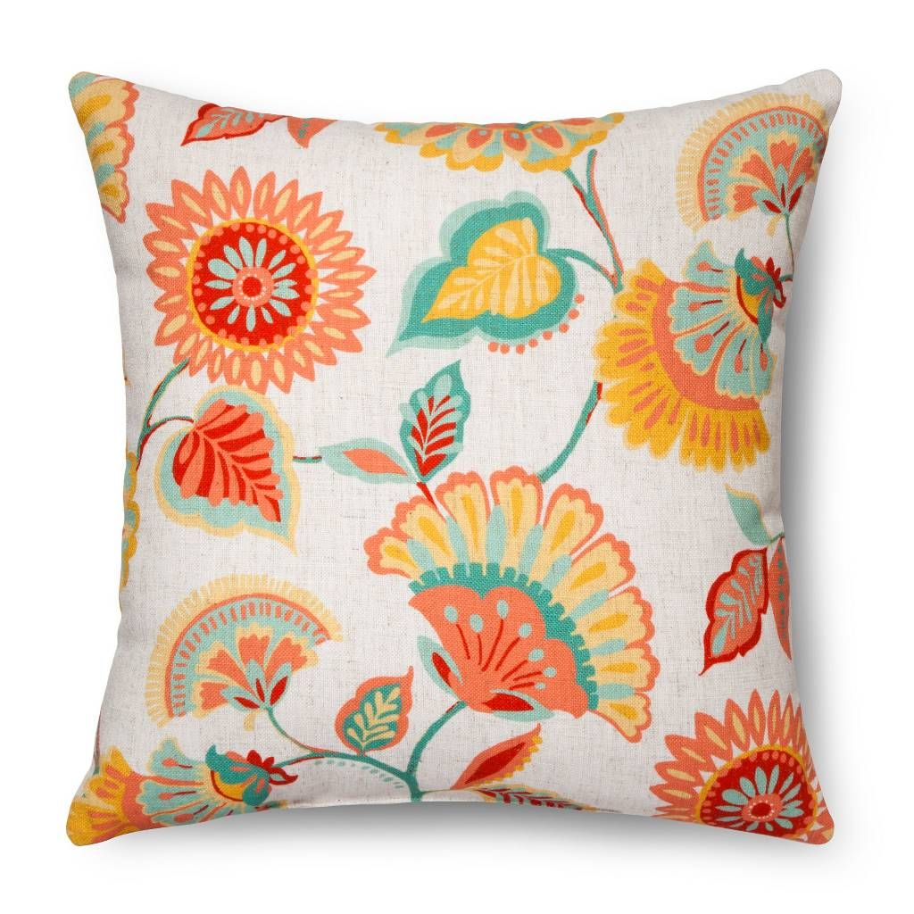 Floral throw pillow multi colored threshold image 1 of 1