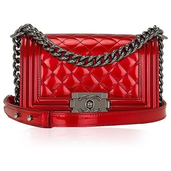 103d117e53bdbe Madison Avenue Couture Chanel Red Metallic Patent Small Boy Bag ($5,000) ❤  liked on Polyvore featuring bags, handbags, shoulder bags, chanel, clutches,  ...