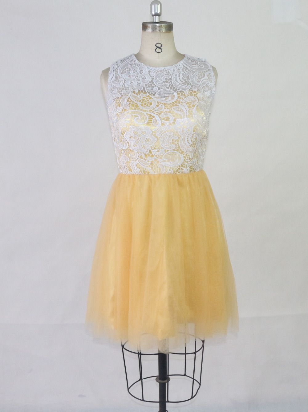 Gold cocktail dress high collar skirt file soft coat lace mesh