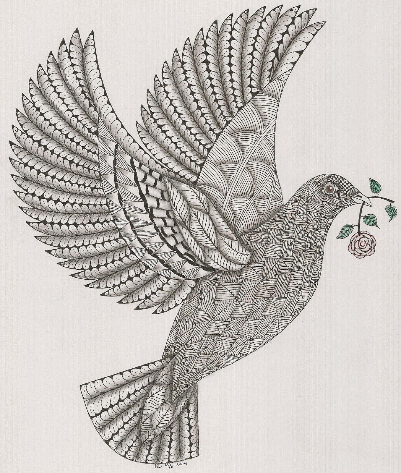 Adri Dove Zentangle Kunst 3d Tekeningen Duif