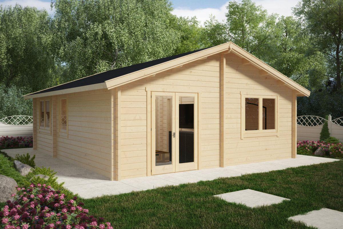 """Holzhaus mit zwei Schlafzimmern """"Irland"""" 43 m2 / 70mm"""