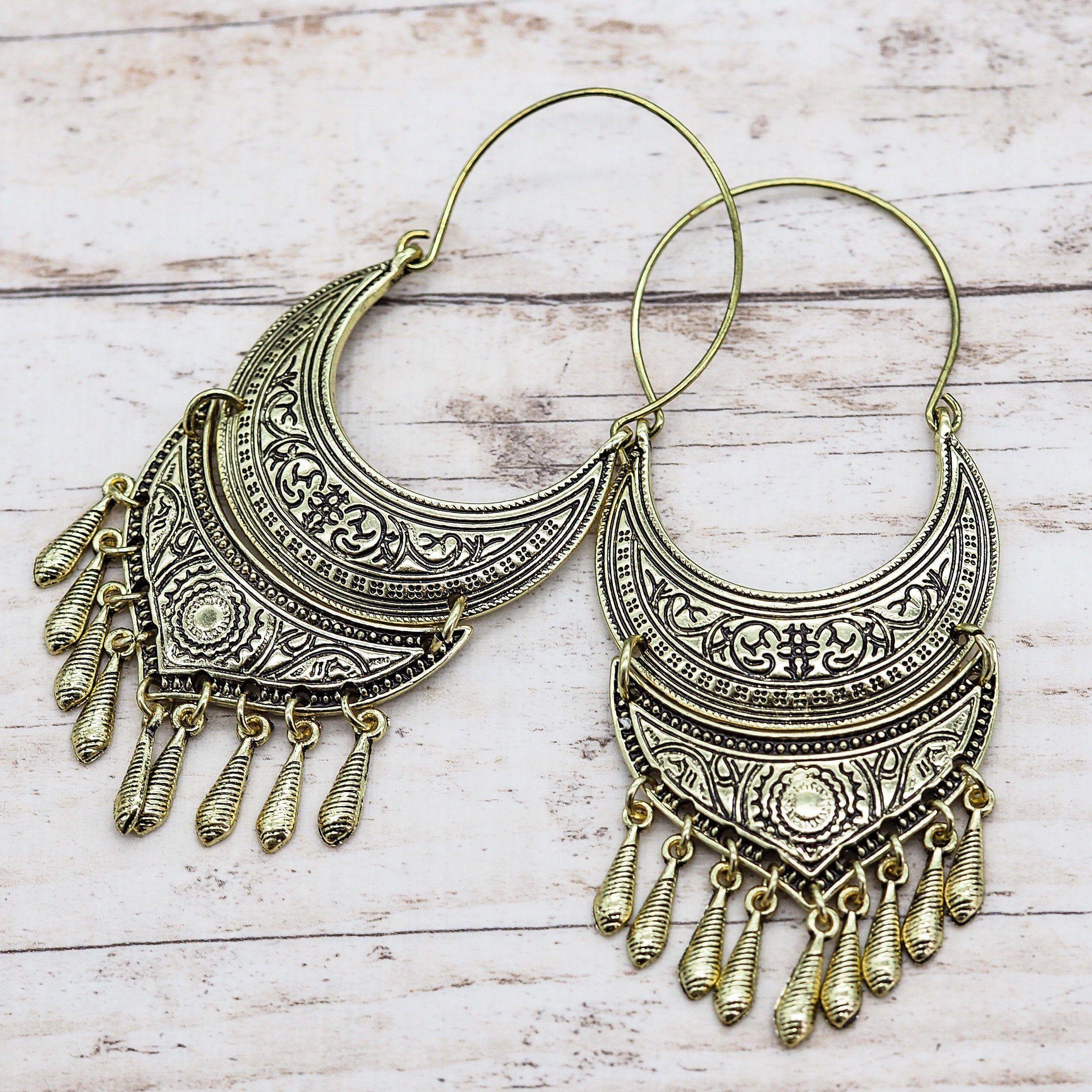 gypsy Hippie festival Cute tiny tribal gold hoop earrings boho cute Ornate ethnic style brass earrings