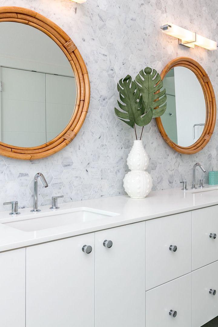 Modern Beach House Bathroom Marble Hex On Wall Bamboo Mirrors
