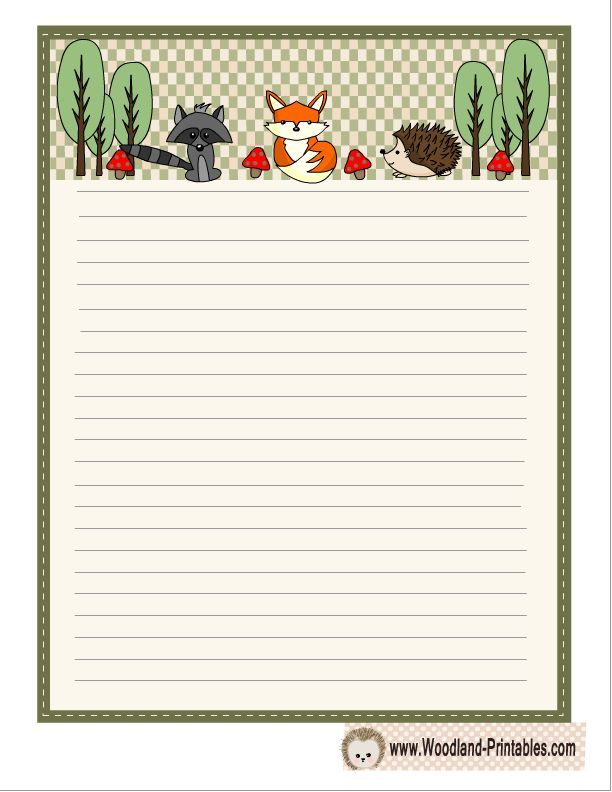 Woodland Writing Paper featuring Hedgehog, Fox and Raccoon trendy - printable writing paper template