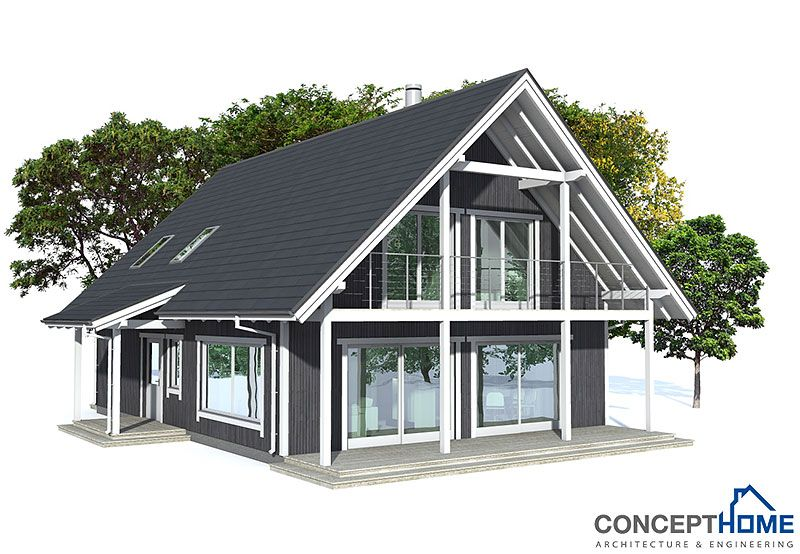 Small house plan with affordable building budget, covered terrace and nice big balconies, two living areas.