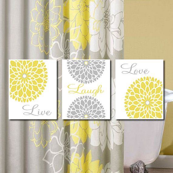 Yellow Gray Wall Art Live Laugh Love Prints Or Canvas Bedroom Pictures Flower Wall Art Bathroom Art Home Decor Dahlia Flower Set Of 3 Yellow Bathrooms Home Decor Bedroom Decor