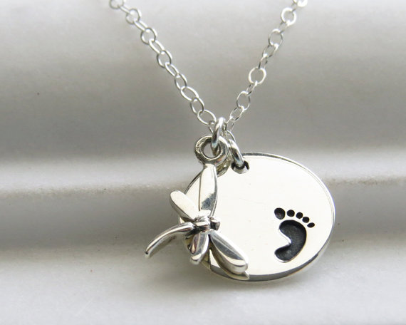 Miscarriage necklace tiny dragonfly with baby footprint jewellery miscarriage necklace tiny dragonfly with baby footprint aloadofball Choice Image