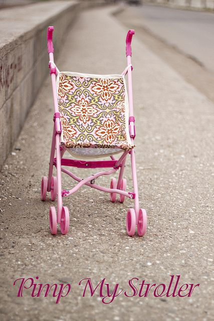 Free sewing tutorial to make a new stroller back and seat.  Lily's stroller looks new again!