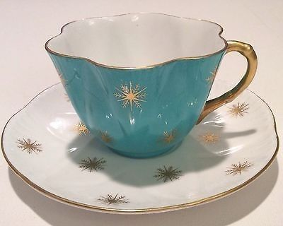 SHELLEY FINE BONE CHINA CUP & SAUCER SNOW CRYSTAL