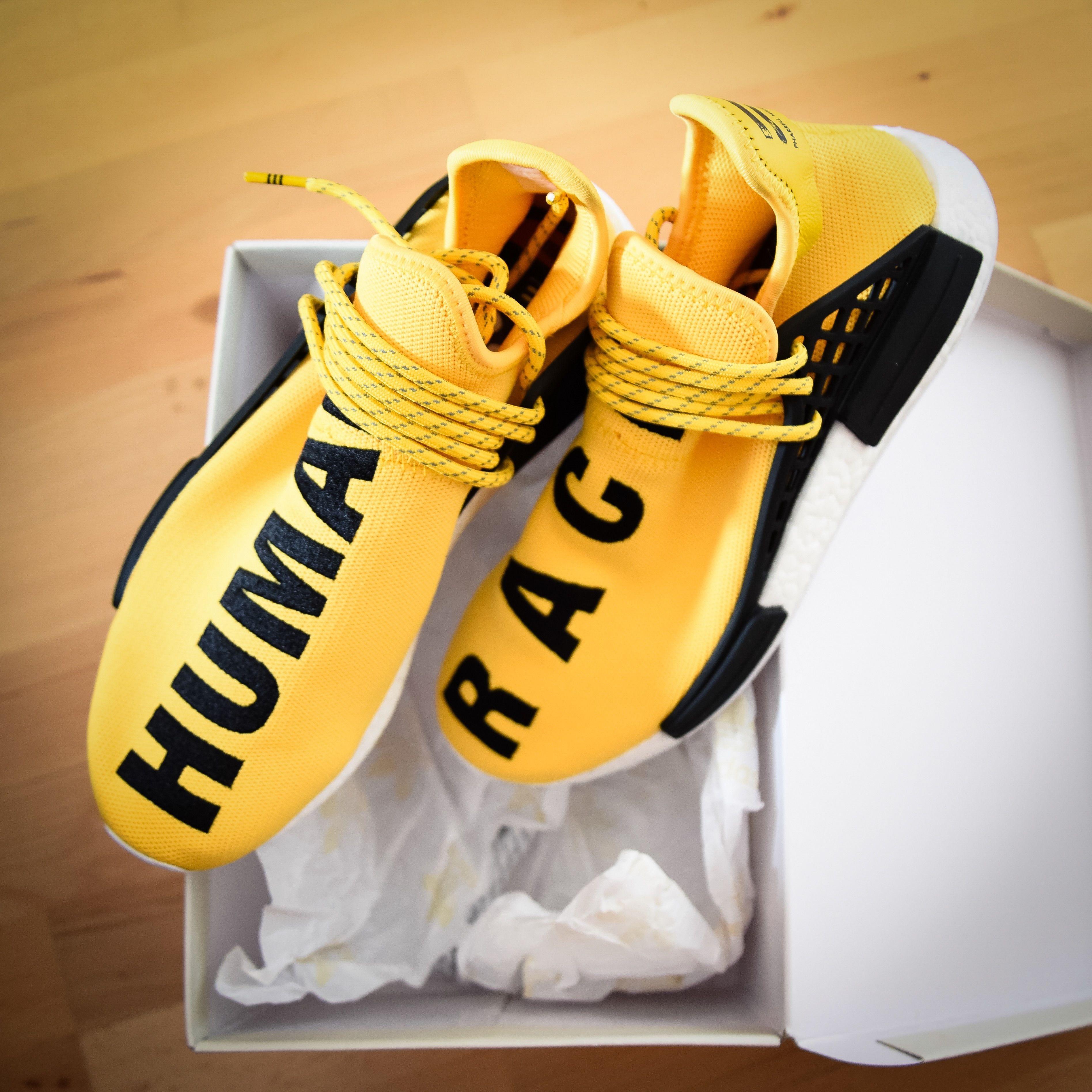 Adidas X Pharrell Nmd Human Race Yellow #Adidas #Pharrell #NMD #HumanRace #