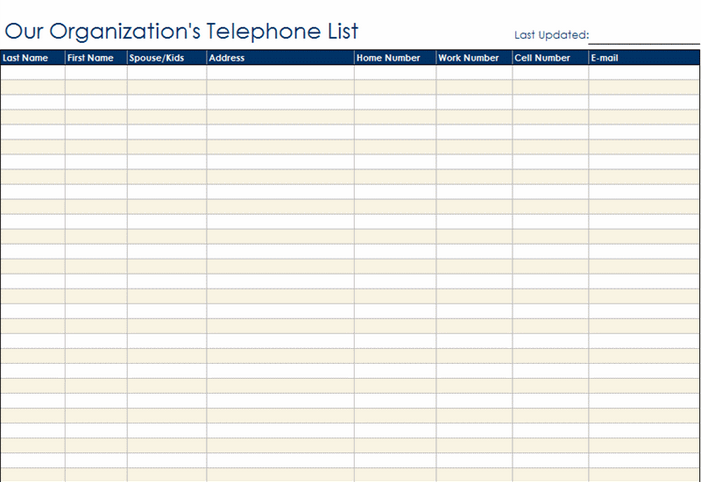 Staff Contact List Template  Contact Information Template